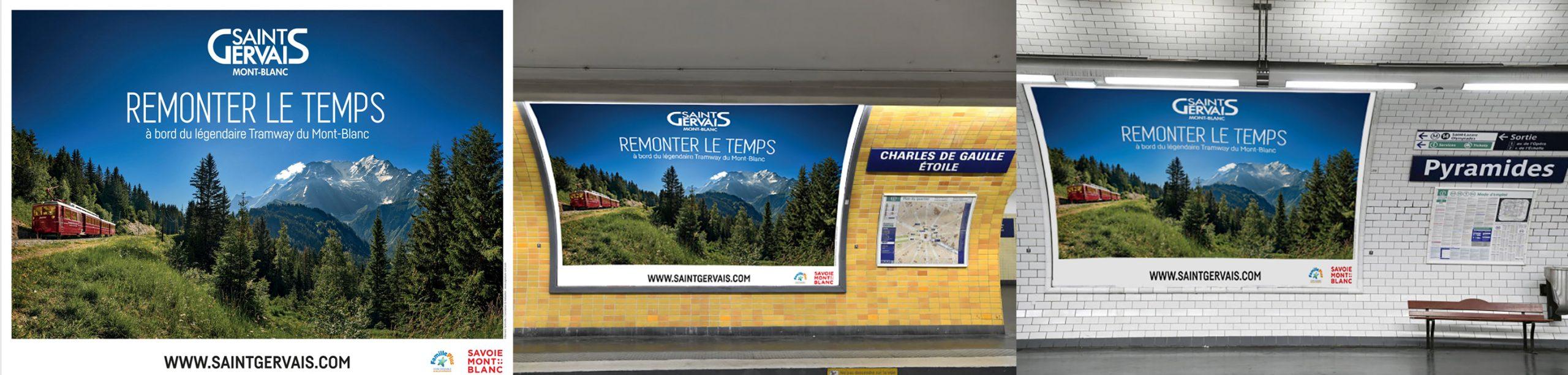 campagne publicitaire touristique 4x3 dans le métro parisien. Possible d'imprimer des documents en haute résolution à partir de photos 360